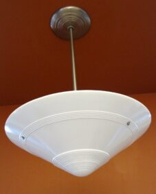 1930s Art Deco pendant. Huge 20 wide shade. 500W.