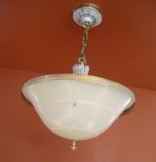 1930s Even-Glow chandelier by Chase Brass.