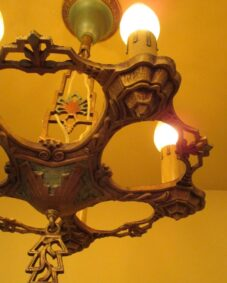 1930s LaSalle set. One chandelier. Two sconces.