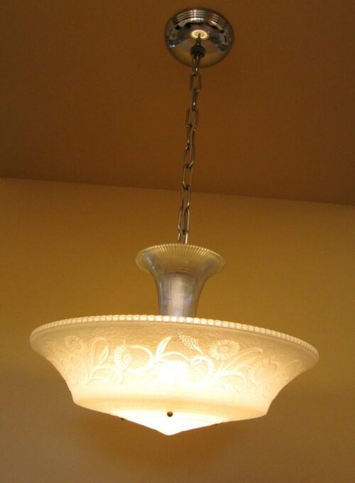 1930s Moe-Bridges chrome and glass chandelier! 200W! MORE AVAILABLE!