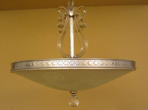 1940s Hollywood Regency silver/brass chandelier by Lightolier.