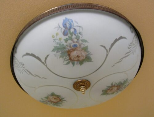 1940s floral set by GLOBE. One ceiling fixture. Three sconces.