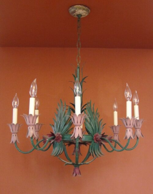 1960s Hollywood-Regency garden room chandelier. HUGE. Will recolor.