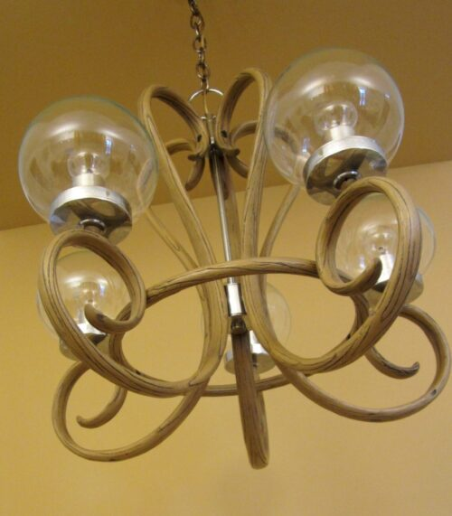 1970s Mod bentwood style chandelier Remarkable