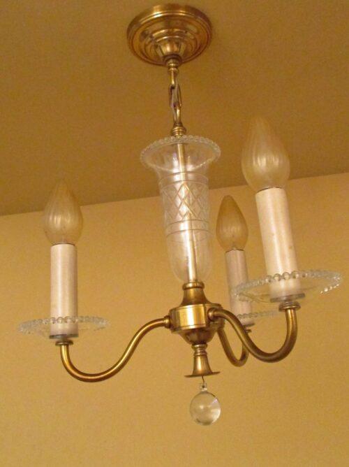 Circa-1950 foyer/bedroom/bath chandelier by Framburg