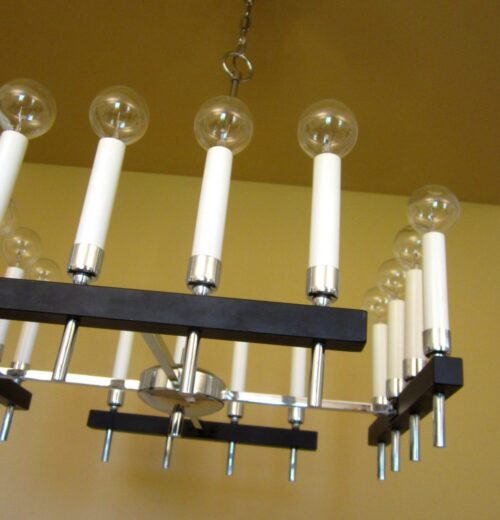 Circa-1970 square chandelier by Progress. Mod!