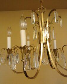Distinctive Mid-Century crystal chandelier.