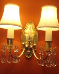 FOUR 1920s brass 2-arm sconces by Lightolier. High-quality.