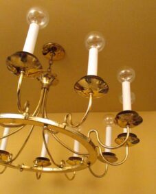Matched pair huge Mid-Century Modern chandeliers. 36 wide.