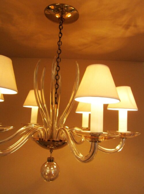 Museum quality 1950s mid-century chandelier by Lightolier. Astounding.