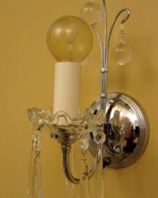 PAIR 1930s Art Deco chrome sconces. Dazzling.