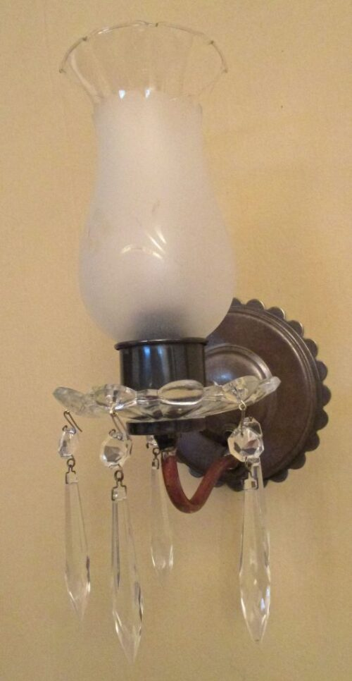 PAIR 1940s crystal sconces by Homart