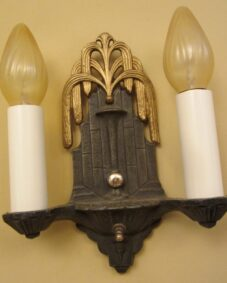 PAIR Art Deco fountain sconces by Halcolite.