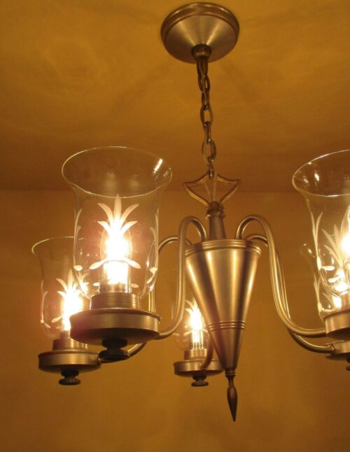 Pewter type finish 1940s chandelier by Lightolier