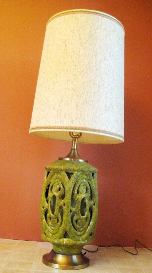 Retro 1970s mod chandelier and lamp. Extraordinary.