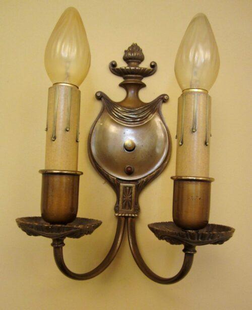 Vintage Sconces pair antique 1930s brass High quality Lovely details